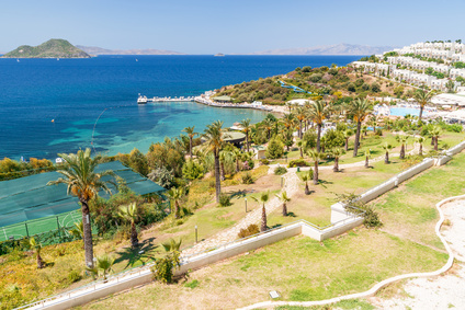 panoramic view on the Bodrum beach,  Turkey