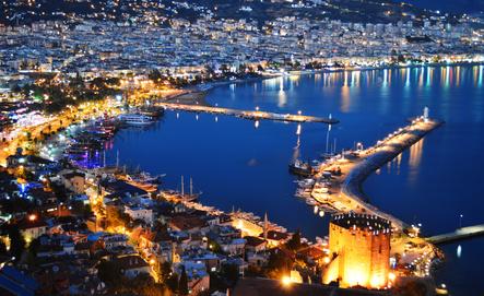 View of Alanya harbor from Alanya peninsula. Turkish Riviera
