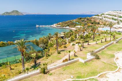 panoramic view on the Bodrum beach,  Turkey